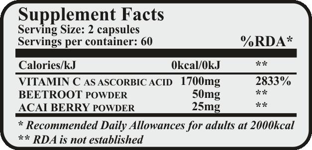 vitamin c acai berry red beetroot