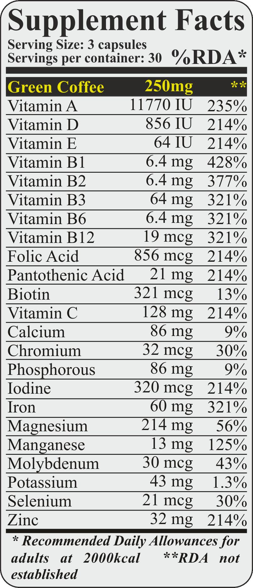vitamins minerals green coffee